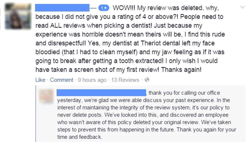 Facebook capture featuring a review mentioning a deleted negative review.