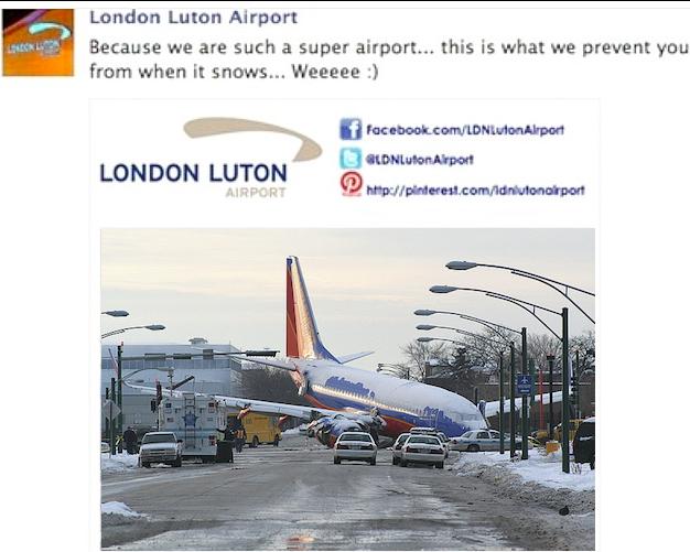 London Luton Airport's Facebook crash.