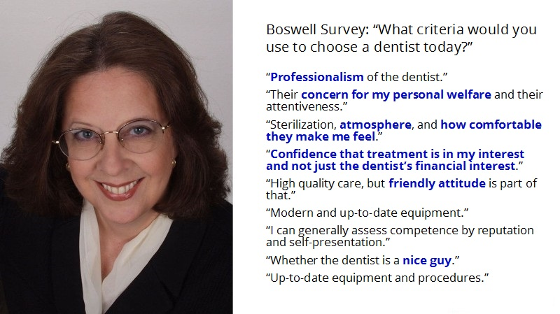 Suzanne Boswell lists reasons people choose a dentist, and it's mostly based on emotion