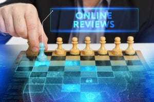 Online reviews being represented as a game of chess