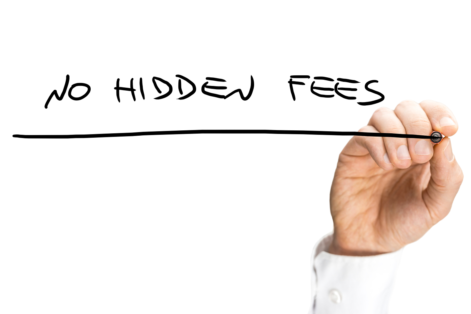 Businessman dentist writing the words - No hidden fees.