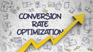"a graphic showing a line graph with an upward arrow and the words ""Conversion rate optimization"""
