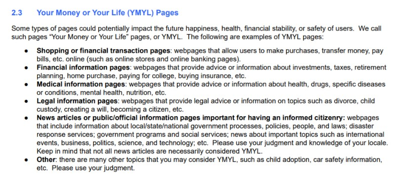 A list of Google's YMYL guidelines, to give weight to web pages and manipulate search results