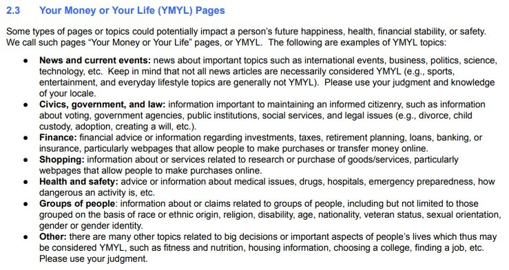 Googles list of types of pages it considers Your Money or Your Life pages, as it attempts to manipulate search results.
