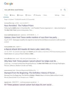 "A screen shot of search results from Google for ""new york times racist history"" showing the critical article ranked on page 4"