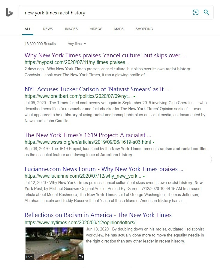 """A screen shot of search results from Bing for """"new york times racist history"""" showing the critical article ranked #1"""