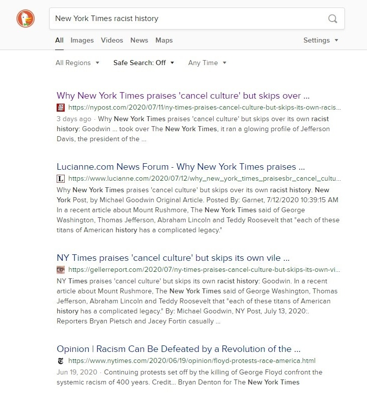 """A screen shot of search results from DuckDuckGo for """"new york times racist history"""" showing the critical article ranked #1"""