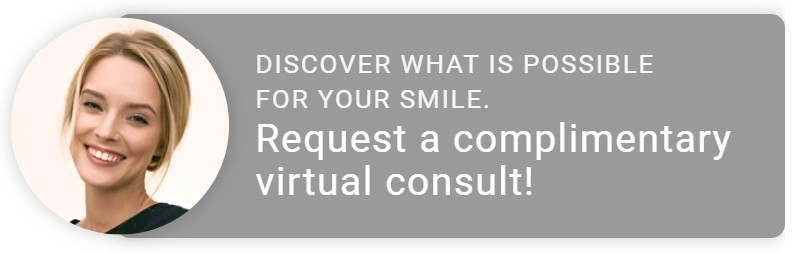 "photo of a woman's face in a circle and the words ""Request a complimentary virtual consult!"""