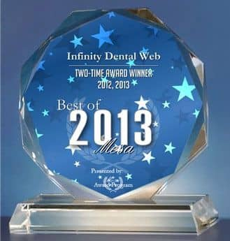 "Plaque reading: ""Business Hall of Fame Infinity Dental Web Internet Marketing - Best of 2013 Mesa"