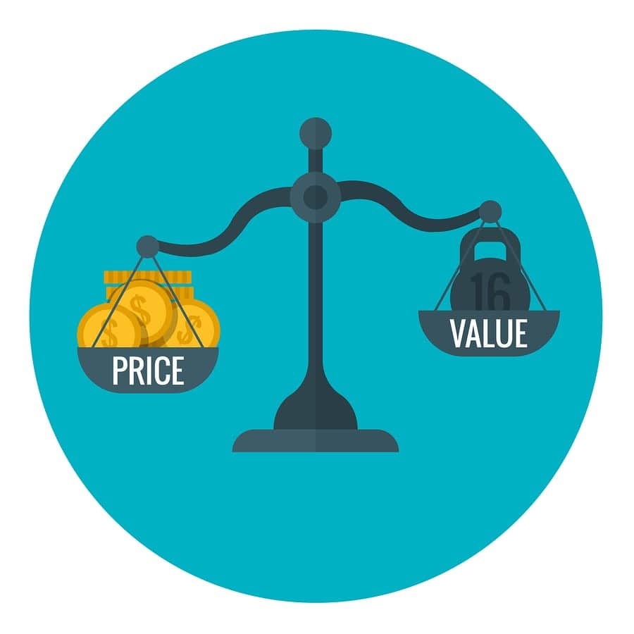 A diagram of a scale weighing price against value, suggesting that the cost of a website should be related to its value